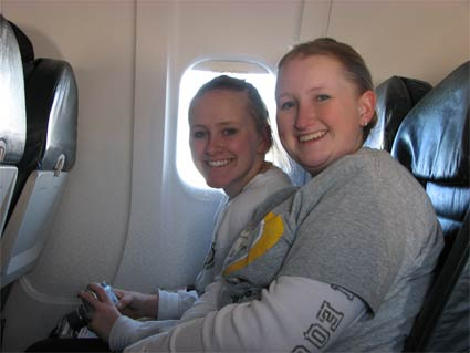 Karen and Cindy on the plane home