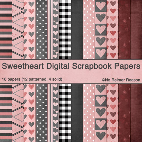 Valentine's Day / Love / Sweetheart Digital Scrapbook Papers