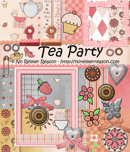 Free Digital Scrapbook Kit Tea Party No Reimer Reason