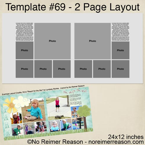 No Reimer Reason - Free Two Page 24x12 Digital Scrapbook Template - Click for larger preview