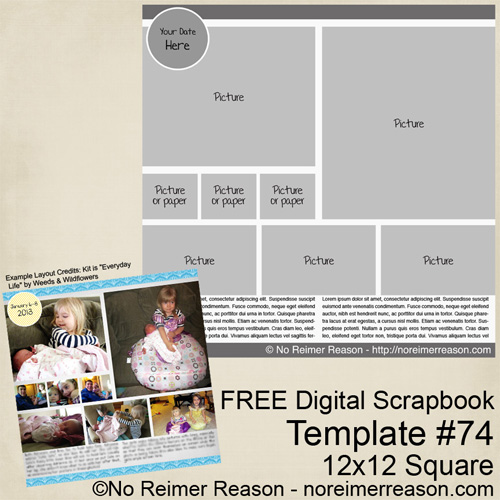No Reimer Reason - Free 12x12 Digital Scrapbook Template - Click for larger preview