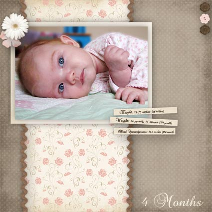 Baby 4 month scrapbook layout
