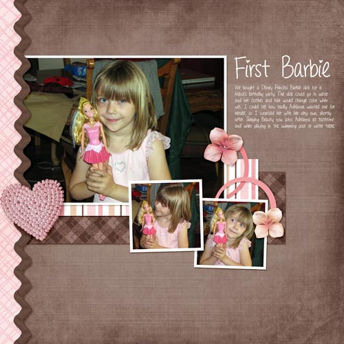 First Barbie Scrapbook Layout
