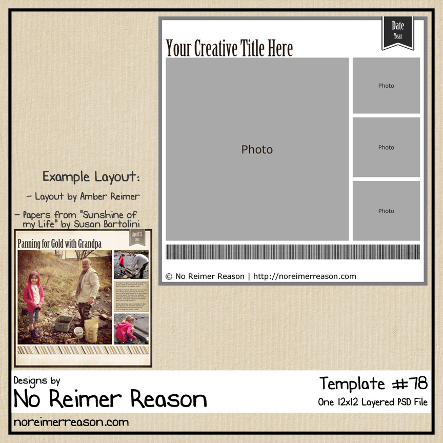 Digital Scrapbook Layout Template in 12x12 and 8.5x11 sizes