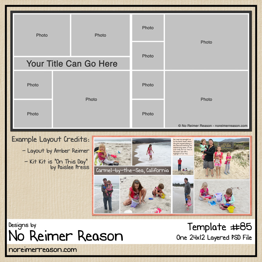 Digital Scrapbook Layout Template